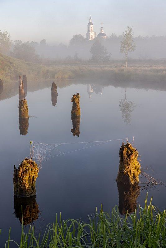 филипповское рассвет туман храм озеро Филипповскоеphoto preview