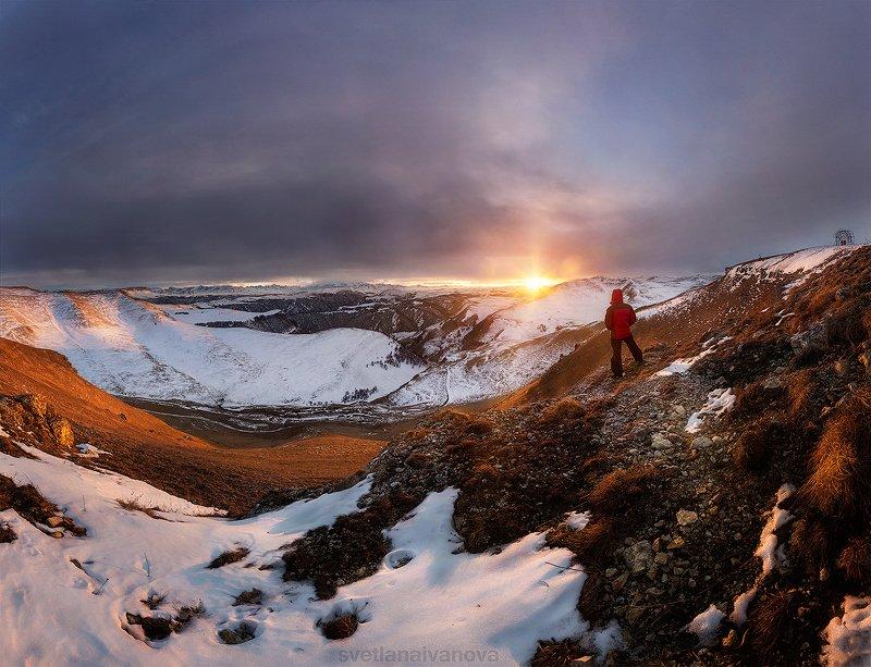 эльбрус, горы, закат, карачаево-черкессия, кавказ, шаджатмаз, зима Солнце скрылось за Эльбрусом...photo preview