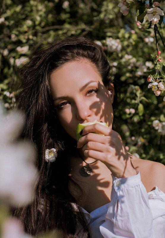 девушка,яблоня,цветы,наприроде,природа,женский портрет,волосы,взгляд,портрет Яблочный привкусphoto preview