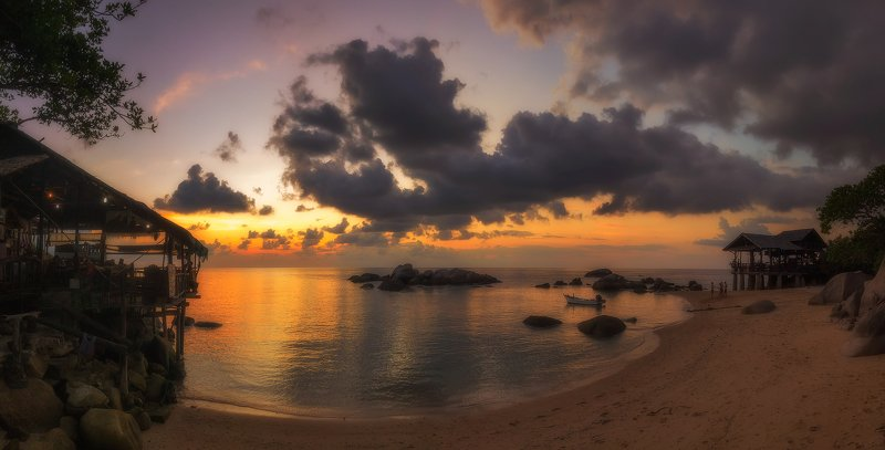 панорама, закат, остров, пейзаж, панорама, путешествие, таиланд, остров, тао, солнечный, Бухтаphoto preview
