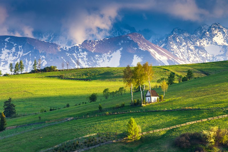 chapel, mountains, tatras,national park, pieniny national park, spring, wiosna,  Chapel under the mountainsphoto preview
