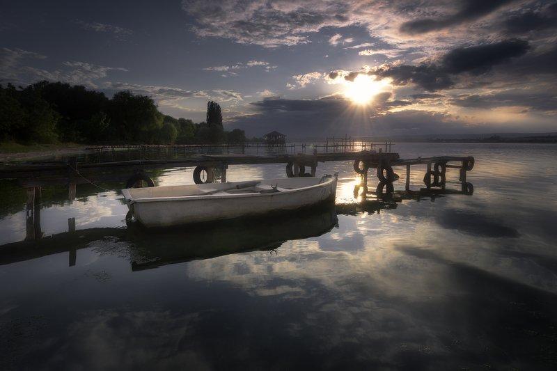 Spring sunset at lake photo preview