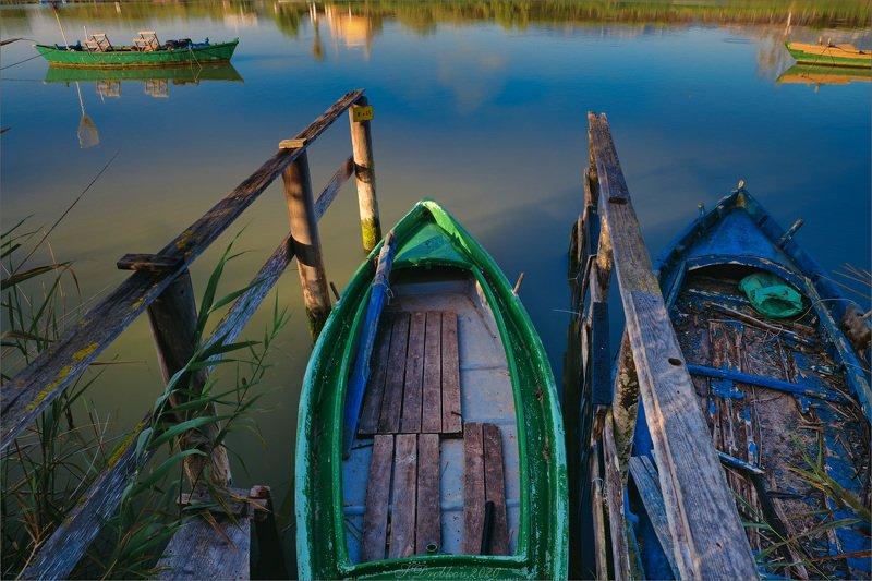 пейзаж, лодка, вода, рассвет Тихий рассветphoto preview