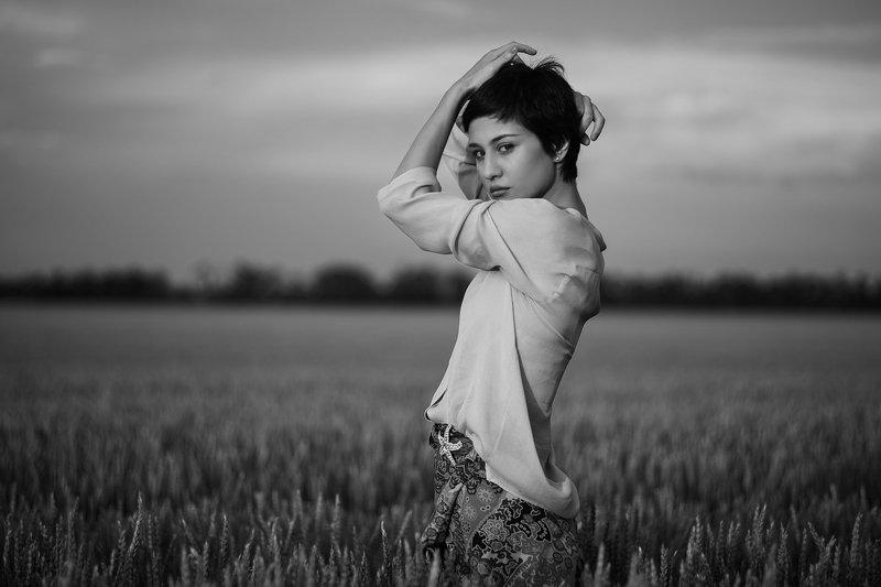 девушка, модель, гламур, вечер, платье, поле, закат, свет НАИДАphoto preview