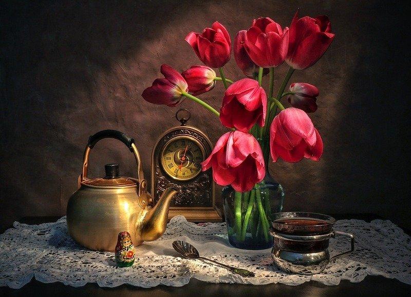натюрморт,весна,тюльпаны,чай, Утренний чай.photo preview
