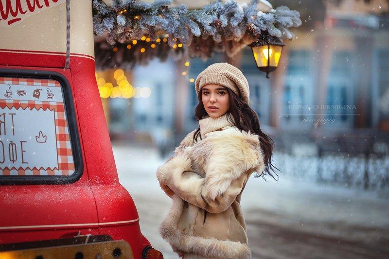 девушка, красивая девушка, женский портрет, красотка, зима, улица photo preview