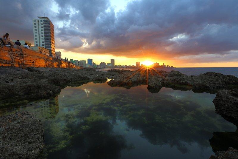 куба, гавана, закат, малекон, солнце Малеконphoto preview