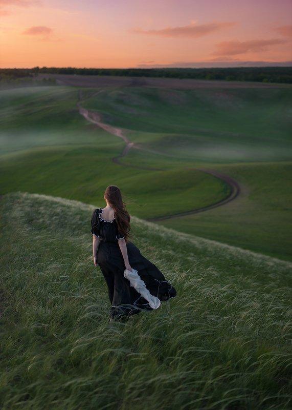 девушка, ветер, закат, природа, лето Ветер переменphoto preview