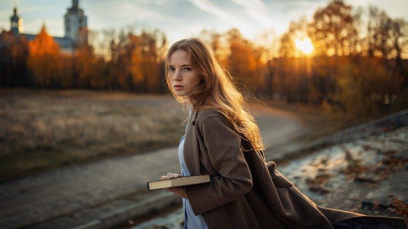 портрет, осень, девушка, закат, храм Hermionephoto preview