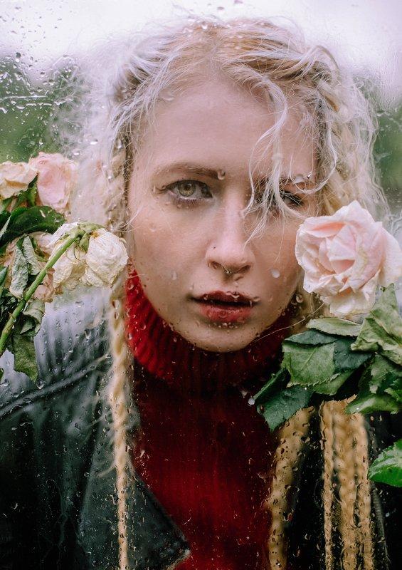 девушка,портрет,улица,волосы,ветер,атмосфера,street street photo portrait, капли дождя, стекло, розы Дикая розаphoto preview