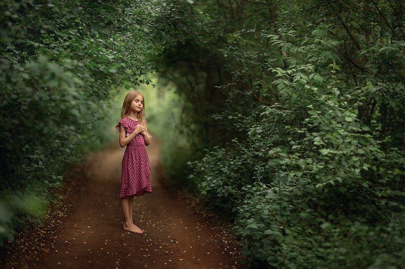 лес девочка арка тропинка Лесphoto preview