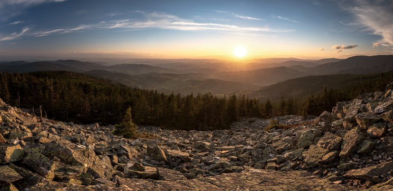 stones, sunset, forests, Jeseníky mountains, rock,  Sunset on the Lost stonesphoto preview