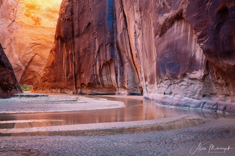 США, Аризона, Юта, каньон, щелевой, слот, пустыня, река, скала, отражение,  В каньонах тоже бывают рассветыphoto preview