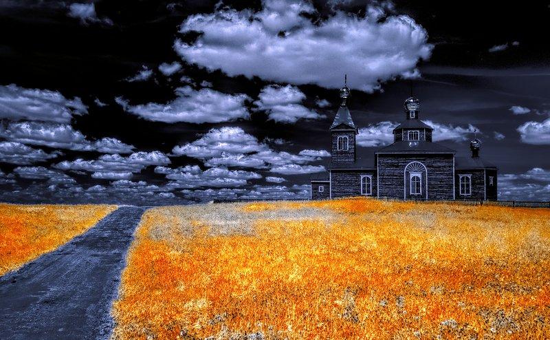 infrared,ик-фото,инфракрасное фото, инфракрасная фотография, пейзаж, весна По дороге в облака.photo preview