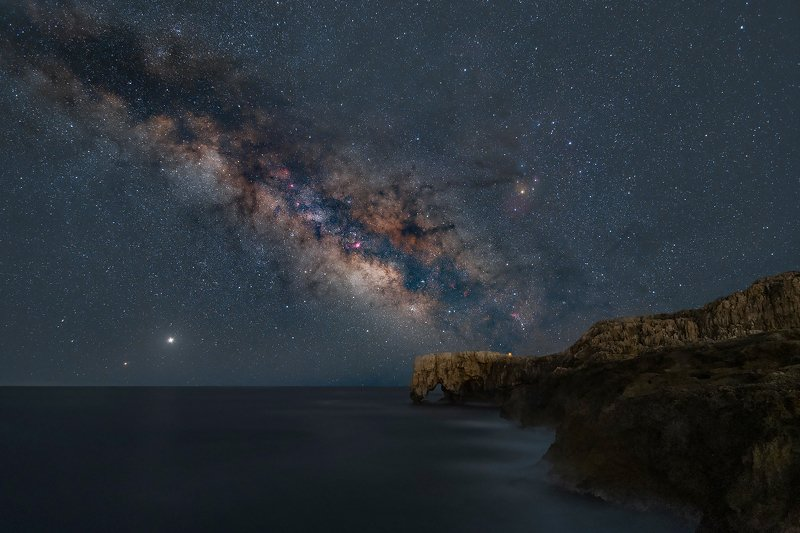 milky way, stars, sky, elephant rock, sea, syracuse, sicily, italy, jupiter, Saturn Milky way over Elephant Rockphoto preview
