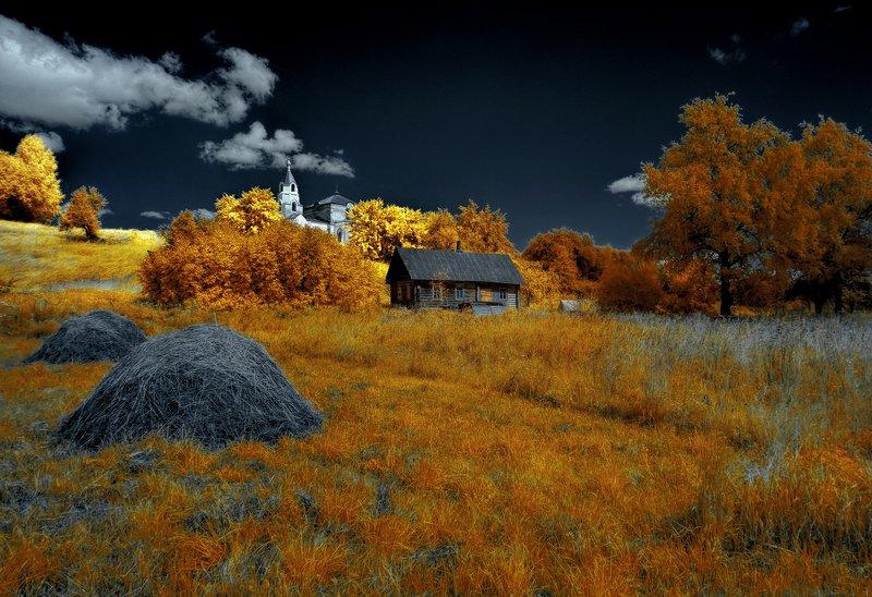 infrared,ик-фото,инфракрасное фото, инфракрасная фотография, пейзаж, лето Переменная облачность.photo preview