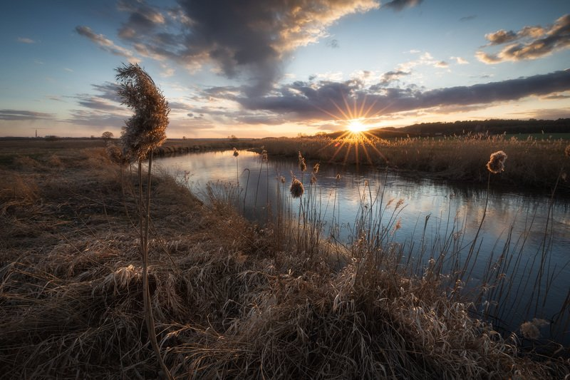 sky spring river sunset sunstar poland podlasie water clouds The whisps of Supraśl river...photo preview