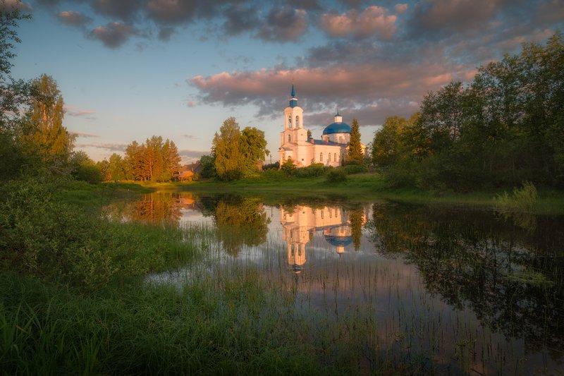 вечер, река, отражения, церковь, лето, вода, церковь на реке Старый погостphoto preview