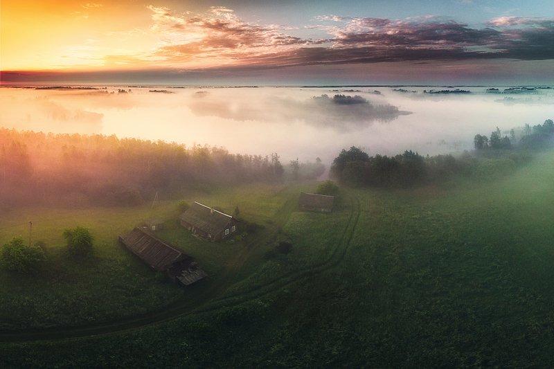landscape,sunride,fog,lake,village,clouds,beautiful,nature Latvian Morningphoto preview