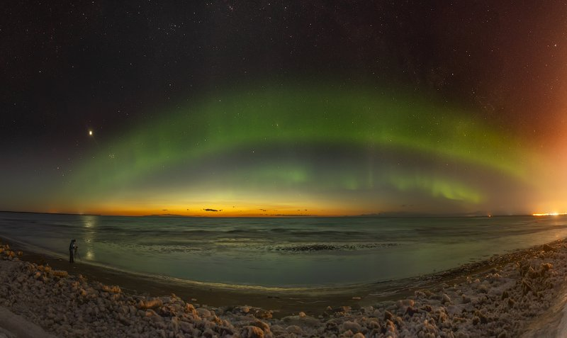 архангельская обасть, ночное фото, белое море, русский север, северное сияние Aurora Borealis на закате дняphoto preview