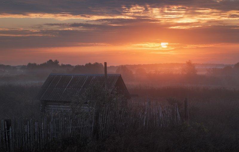 рассвет, село, домик Где-то в глубинке.photo preview