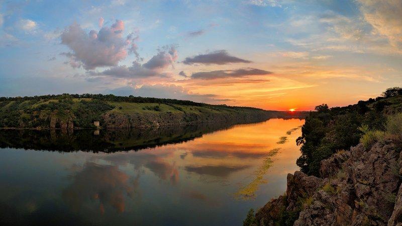 закат,лето,пейзаж,краски,зелень,солнце,небо,река,рекаднепр,landscape,сюжет,природа,nature,sky,облака,вода,отдых,красота, \