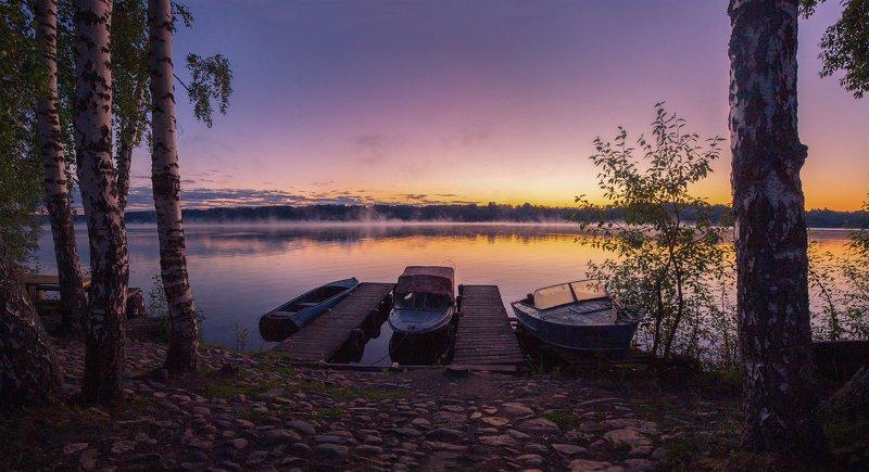 Плёс, россия, рассвет  Речная лодочная парковка photo preview