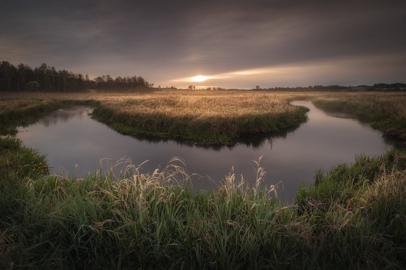 river sunrise water clouds sky grass meadow Podlasie Poland Moody sunrise...photo preview
