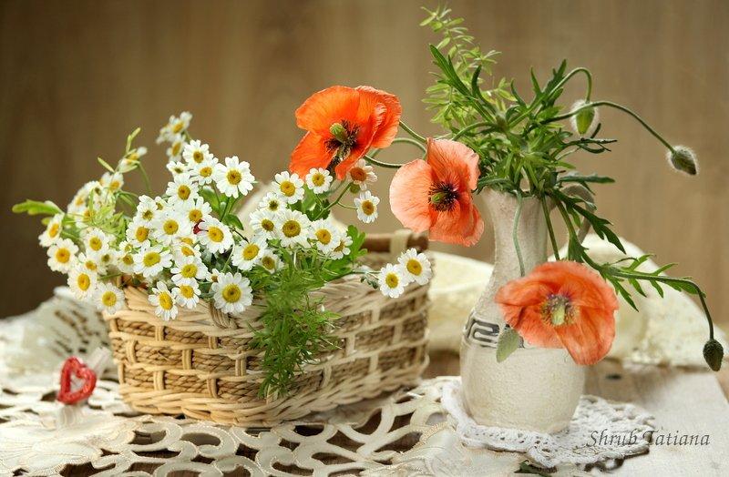 натюрморт, цветы, маки, ромашки, ваза, салфетка Маки с ромашкамиphoto preview