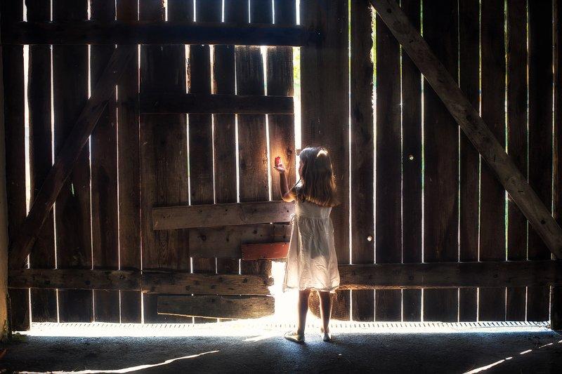 i catch the light barn wood light little girl magic mist dranikowski children kids white dress catch the lightphoto preview