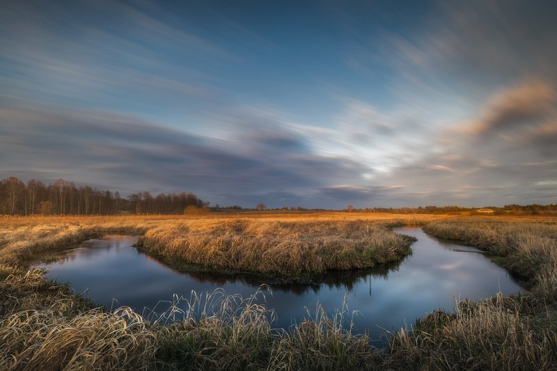 river sky clouds long exposure water mood spring Poland Podlasie Czrana river bend...photo preview