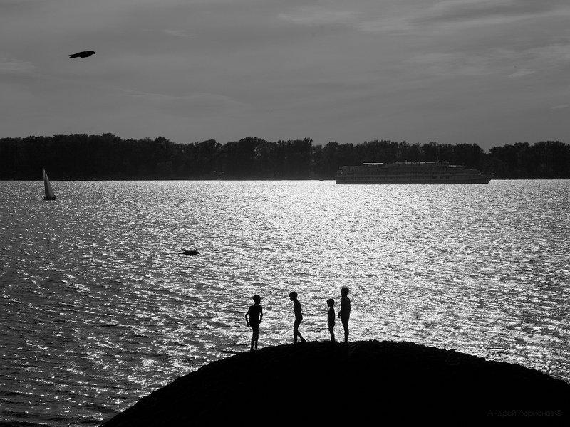 река, волга, вечер, закат, дети Лето детстваphoto preview
