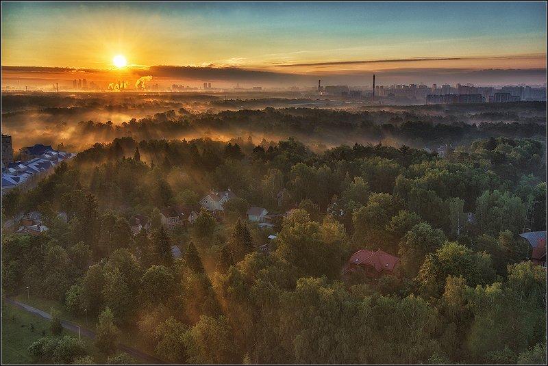 москва, утро, восход, солнце, туман Рассветphoto preview