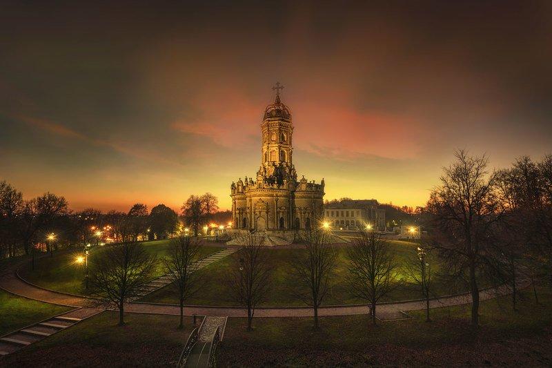 дубровицы, знаменская церковь, закат, храм, барокко, усадьба дубровицы Знаменская церковь (Дубровицы)photo preview