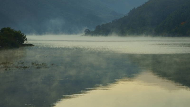 south korea, jeollabukdo, autumn, mroning, lake, fog, fantastic, beautiful, mood, mountain, Fog early in the morningphoto preview