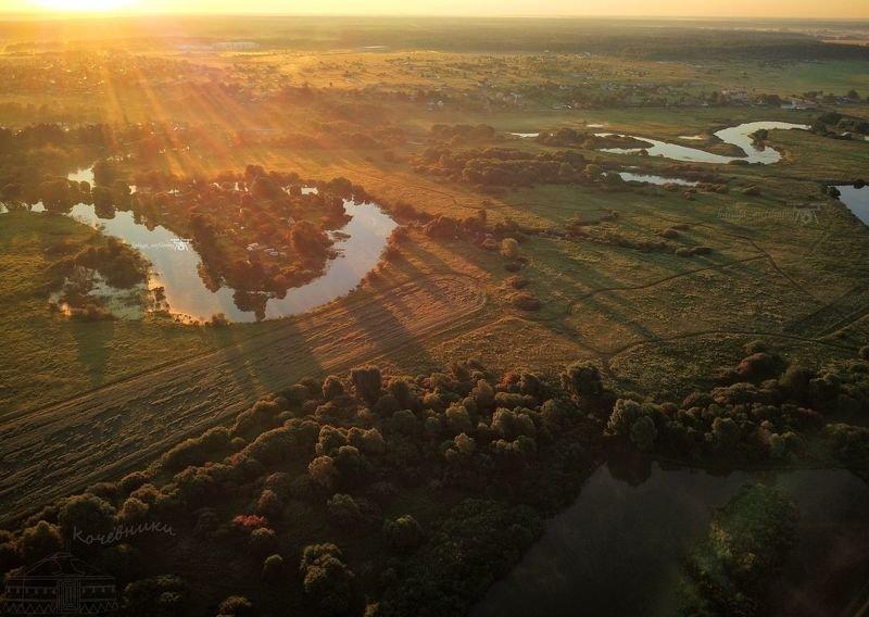 протва, калужская область, аэросъемка, мавик про, пейзаж, рассвет, туманный рассвет Рассвет в долине реки Протваphoto preview