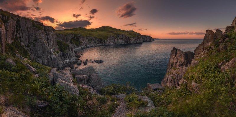 панорама, море, скалы, закат, маяк ***photo preview