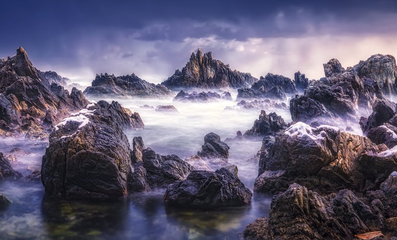 Rock, Sea, Seashore, Wave, Long_Exposure, Sky, Landscape, Snow, Winter, Outdoors, No_people The rockphoto preview