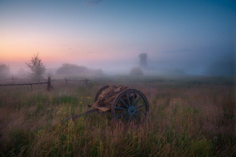 утро, телега, туман, рассвет, лето В предрассветной тишинеphoto preview