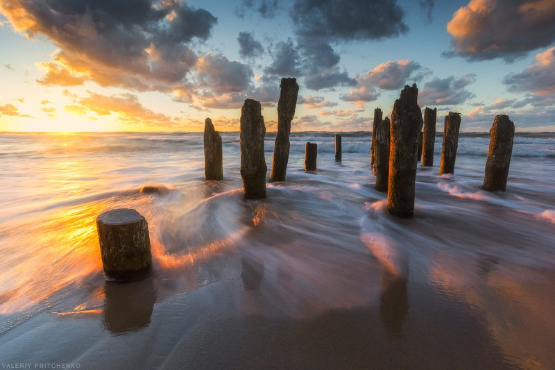 Baltic sea, nature, seascape, sunset, sea, Russia, море, природа, пейзаж, закат, Россия Солнечный вечер на Балтикеphoto preview