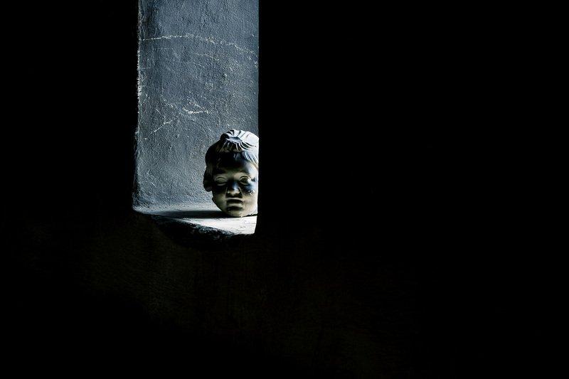 Композиция с гипсовой головой.photo preview