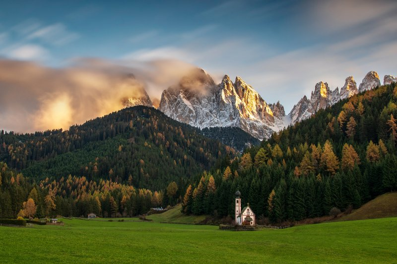 landscape, italy, val di funes, church, sunset, dolomites, ranui Sunset in Val di Funesphoto preview