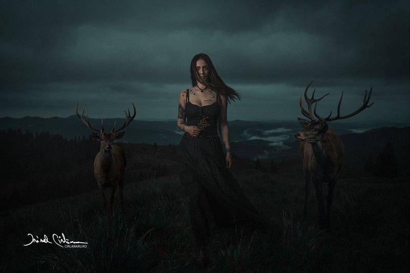deer, tamer, portrait, mood, female portrait Deer tamerphoto preview