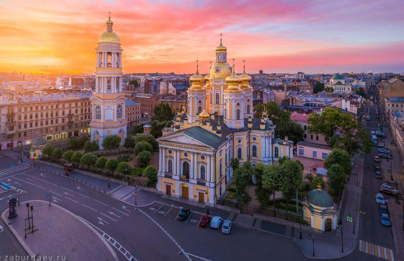 россия, петербург, рассвет, лето, собор, церковь, дрон Владимирский собор фото превью