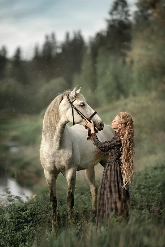 портрет, девушка, женский, портрет, лошадь Две блондинки )photo preview