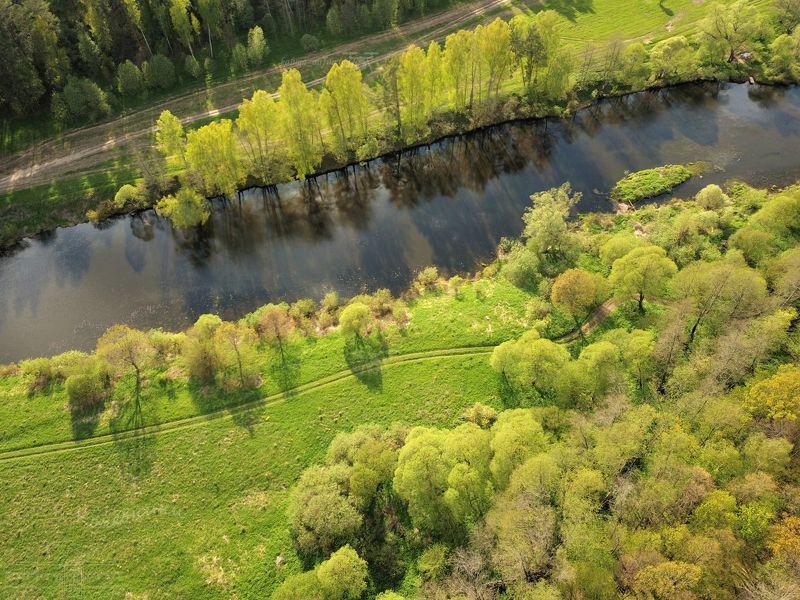 аэросъёмка,мавик про,dji mavic pro, калужская область, реки россии, ресса, река, airphoto Река Ресса веснойphoto preview