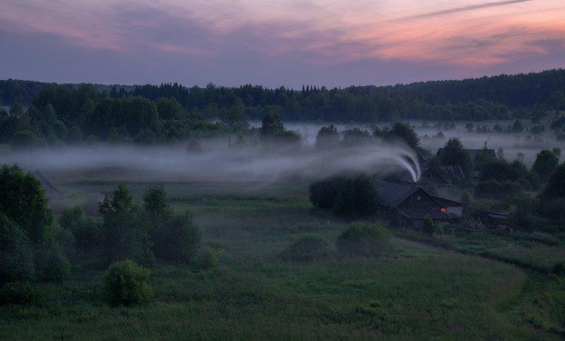 село, сумерки, туман, дымок Сумеречная негаphoto preview