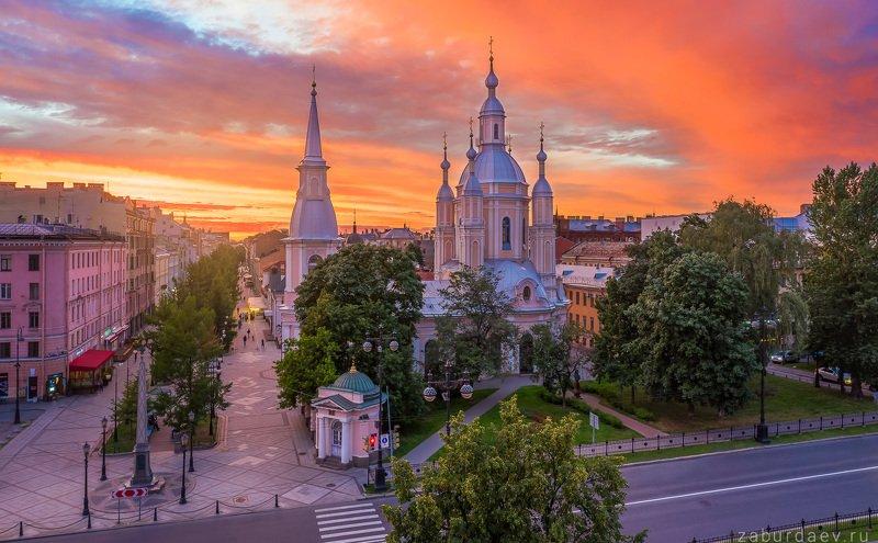 россия, петербург, вечер, закат, лето, дрон Андреевский собор фото превью