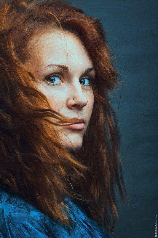 portrait, color, blue, orange, woman, art, painter, corel Викаphoto preview