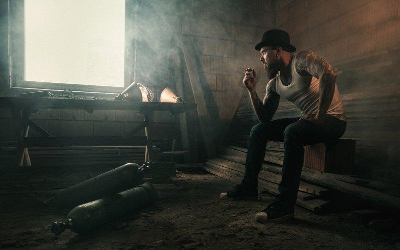 man,cigar,dark, moody, portrait, tattoo, smoke,smoking, room, cinematic,sony, Piotrphoto preview